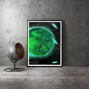 "Poster A3 "" Galaxie en vert "" Disponible"