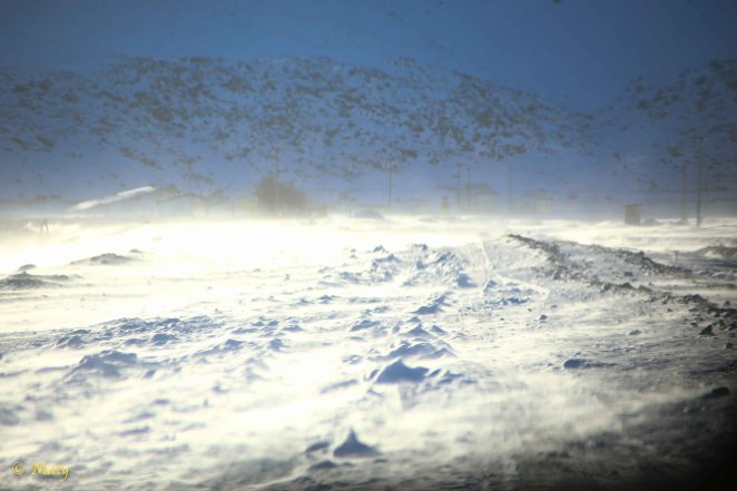Wind again - this is no joke - it picks up the snow from the ground and then it can cut your face like a blade!