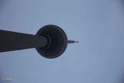 Berlin TV Tower - the tallest man-made structure in the Germany (368m). I was build in late 1960s by East German government. Has a cool restaurant up in the ball.