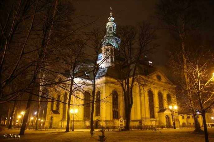Wonderful night photo of Kosciol Garnizonowy (Garrison Church) in Jelenia Gora, Poland