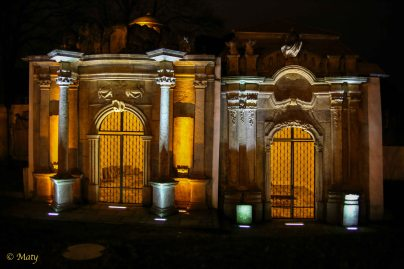 Surrounding ring of family mausoleum crypts located around Kosciol Garnizonowy (Garrison Church) in Jelenia Gora, Poland. It is worth visiting both at daylight and night time.