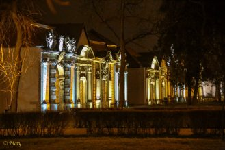 Again amazing lighting of family mausoleum crypts located around Kosciol Garnizonowy (Garrison Church) in Jelenia Gora, Poland.