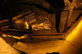 Steps down to the lower level of the mine - not much light but it is so picturesque!