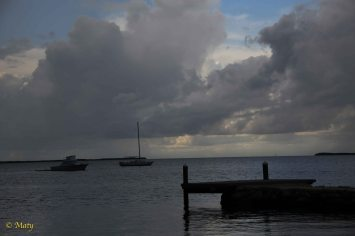 Sitting in one of the Key Largo's bars and watching the incoming storm