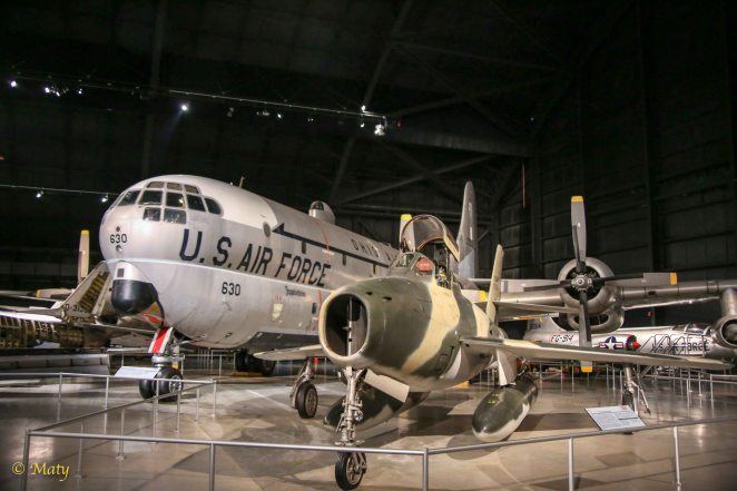 Boeing KC-97L Stratofreighter and Republic F-84F Thunderstreak