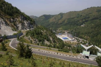 Look at the Medeu Stadium from road above