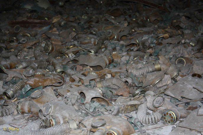 so many pro-masks... elementary school storage - city of Pripyat