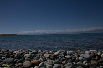 this end of Issyk Kul has stone beaches but it will not stop us...