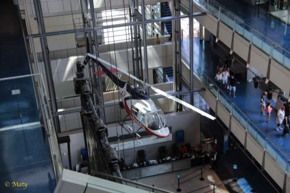look at the multistory museum and news helicopter