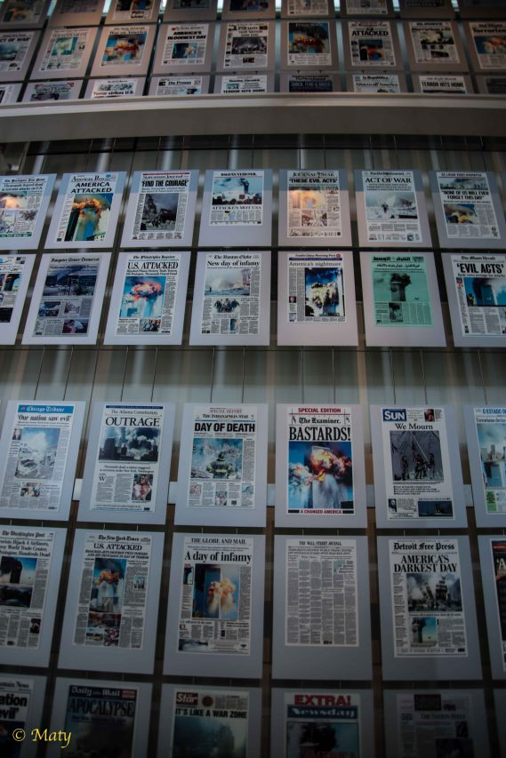 reprints of newspaper's front pages from 9/11