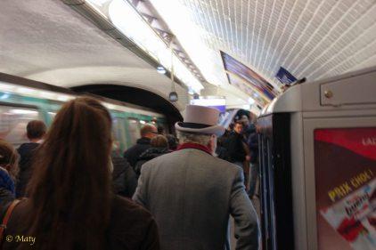in metro in Paris - cool hat