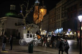 It is busy at the Main Market in Krakow