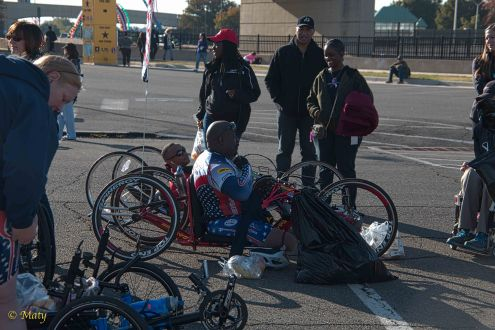 Hand-powered bikes and their riders were a hit during Army 10 Miler - they also competed!