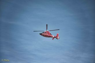 Coast Guard helicopter overhead...