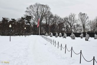 Korean War Veterans Memorial from the distance during winter