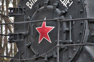 Red star on the front of steam locomotive