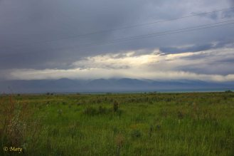 love the low clouds and green steppe - superb contrast!