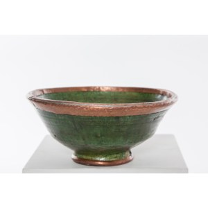 green and copper ceramic bowl