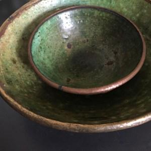 green ceramic bowl