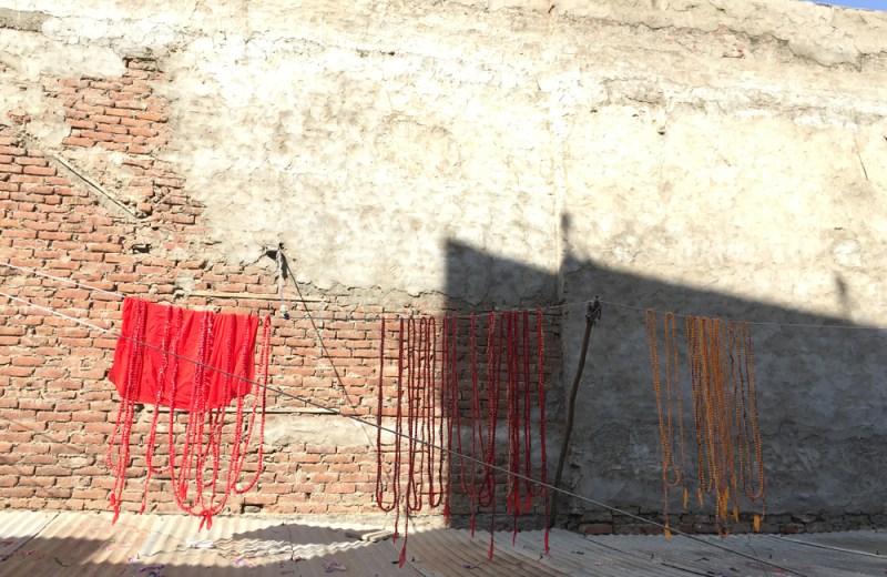 tie dyed fabric drying Jaipur maud interiors