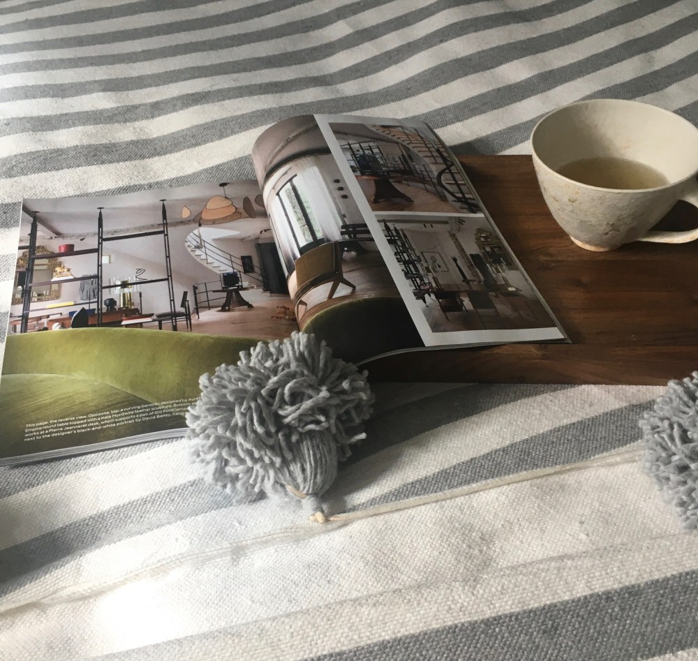 grey and white striped cotton blanket
