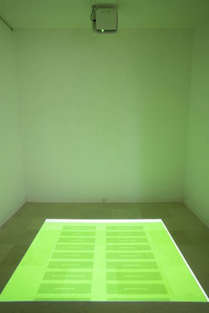 JOHN AUBREY'S LANE, 2010, video projected website on the floor, photo : Jean Brasille/Villa Arson.