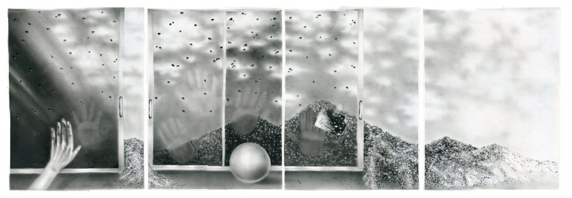 HISTOIRES DE SABLE (SAND STORIES), charcoal on paper, four panels of 70 x 50 cm each.