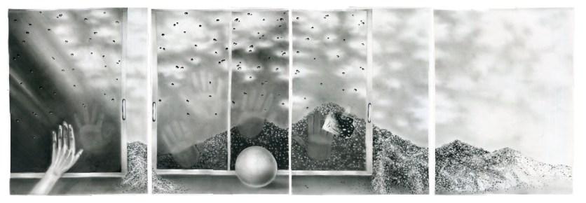 HISTOIRES DE SABLE (SAND STORIES), charcoal on paper, four panels of 70 x 50 cm each.
