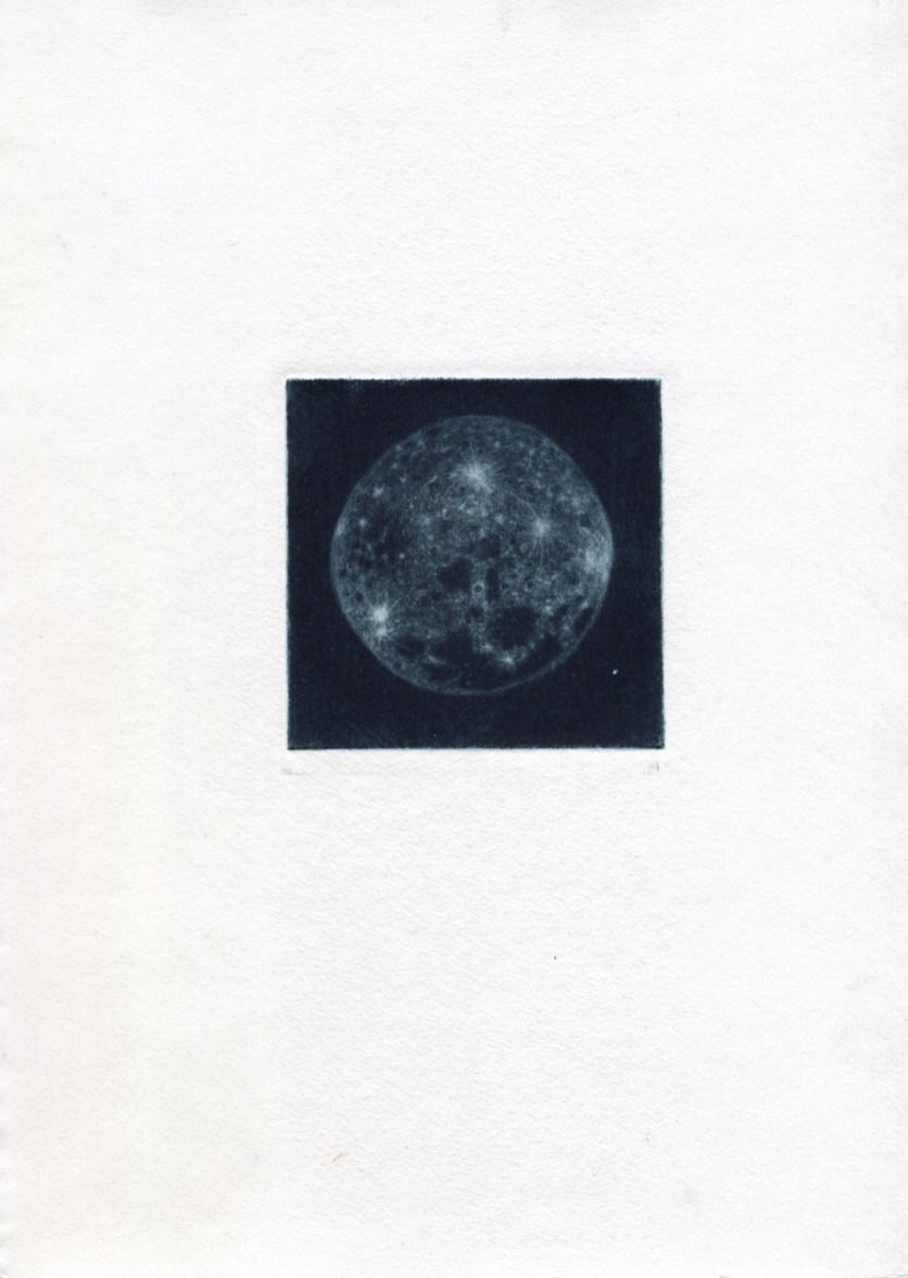 MOON, 2020, mezzotint with prussian blue and black inks printed in Hahnemühle paper, 20 x 28 cm.