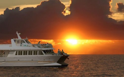 Maui sunsetting behind the Quicksilver Dinner Cruise