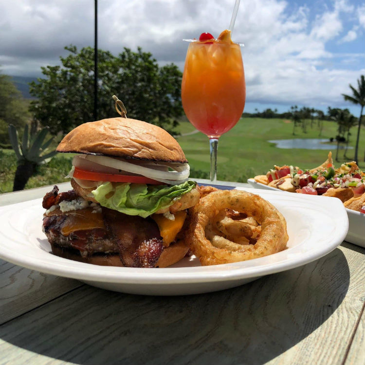happy hour burger and cocktail at sunsets bar and grill maui golf course