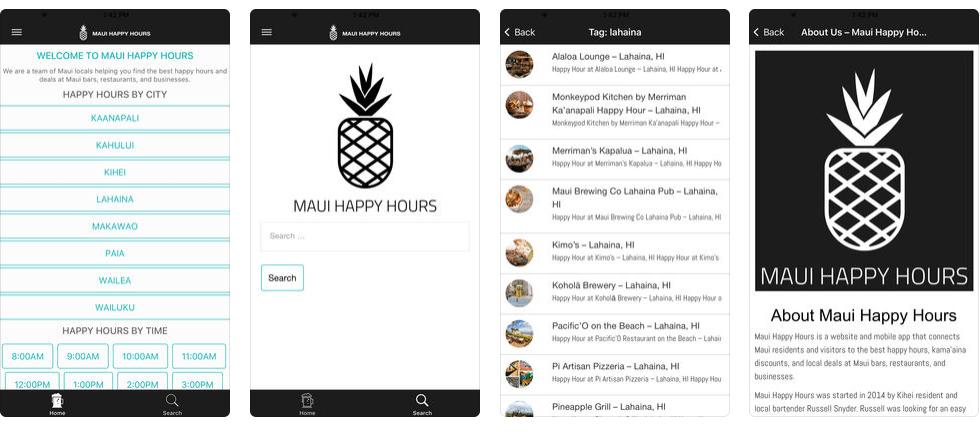 screenshots from maui happy hours app - team of maui locals in kihei hi