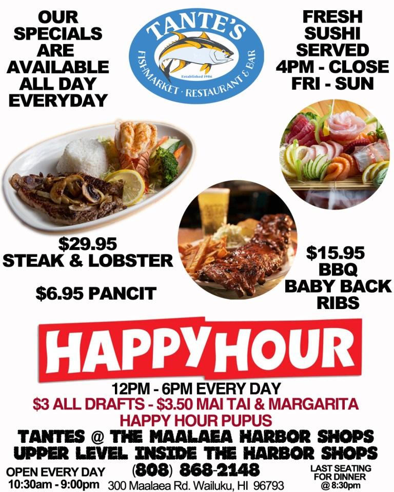 Tante's Maui Happy Hour Menu 2020