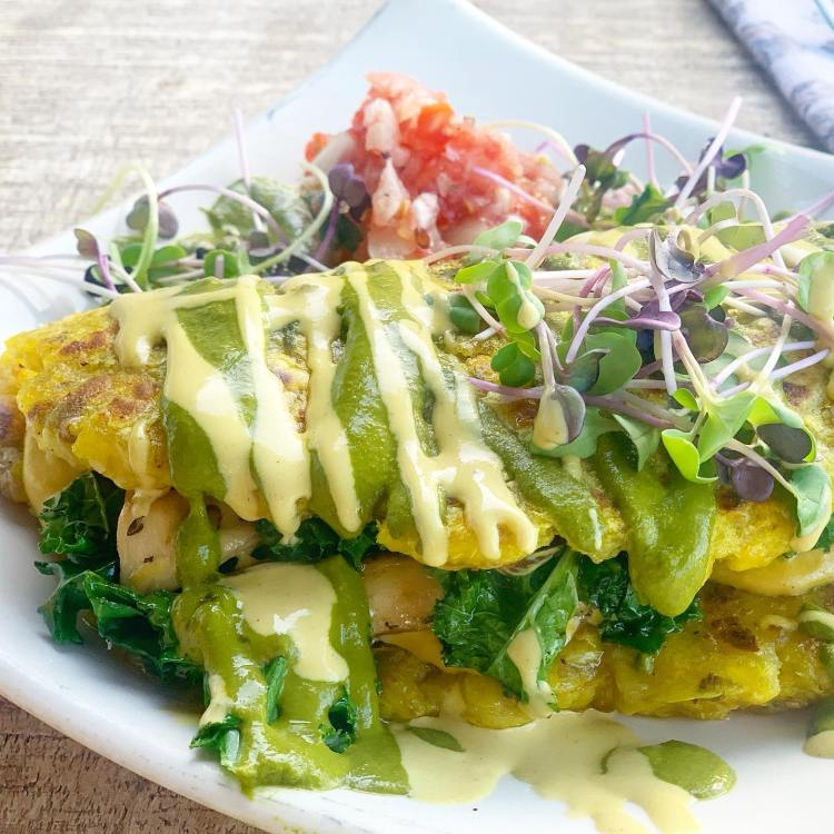 Vegan Omelette - Moku Roots Maui Happy Hour