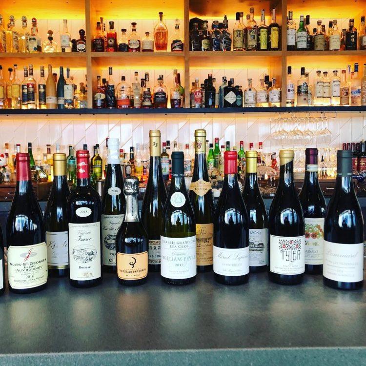 wine list at lineage maui