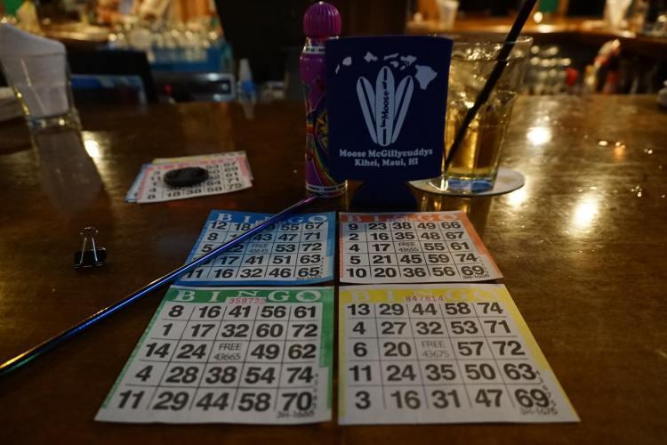 happy hour mooses maui - bingo card