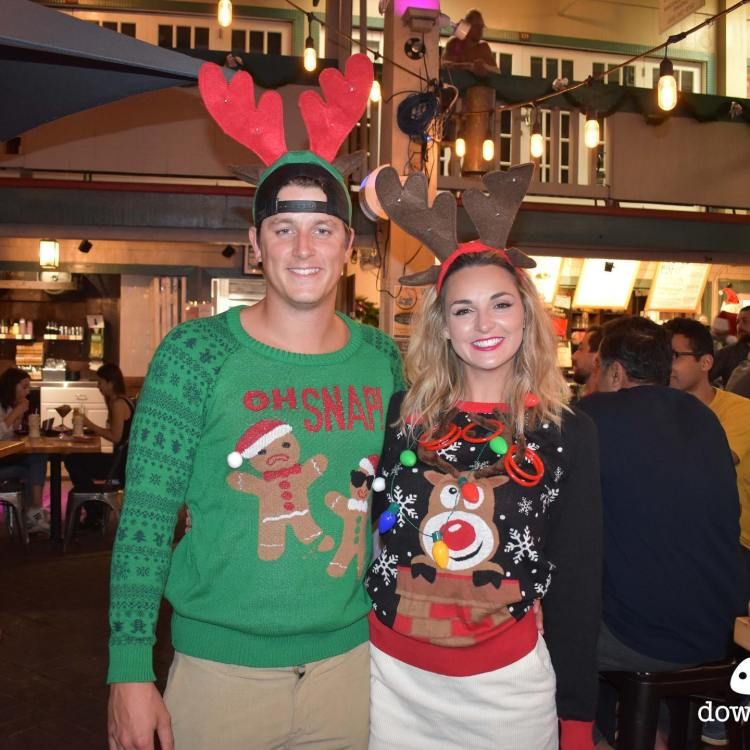 Ugly Sweater Christmas Party at Down the Hatch Maui - Attractive Funny Couple at the Holidays