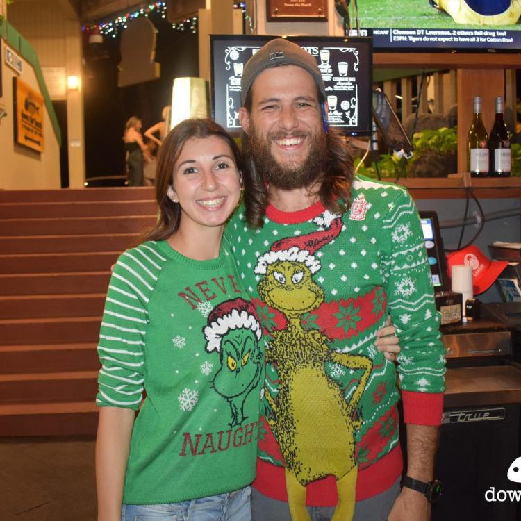 Down the Hatch Ugly Christmas Sweater Party Couple in Lahaina Maui Hawaii