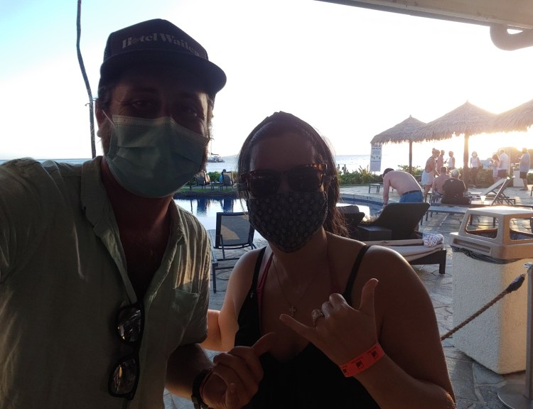 Helen Linton and Russell Snyder Maui Hawaii with Masks at Sheraton Resort Pool Bar