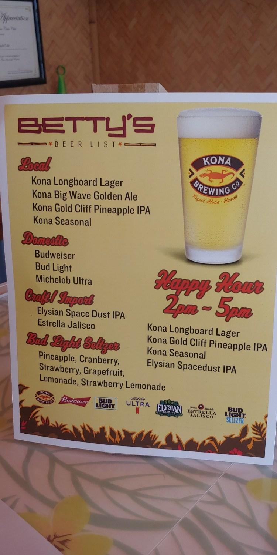 Happy hour beer menu at Betty's Lahaina