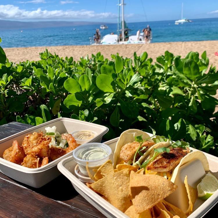 Food at Kaanapali Beach Maui Hawaii