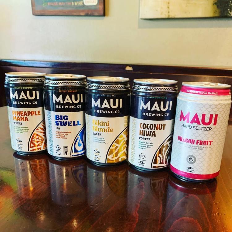 Maui Brew Beers - Pineapple Mana - Big Swell IPA - Bikini Blondge Lager - Coconut Hiwa Porter - Dragon Fruit Hard Seltzer