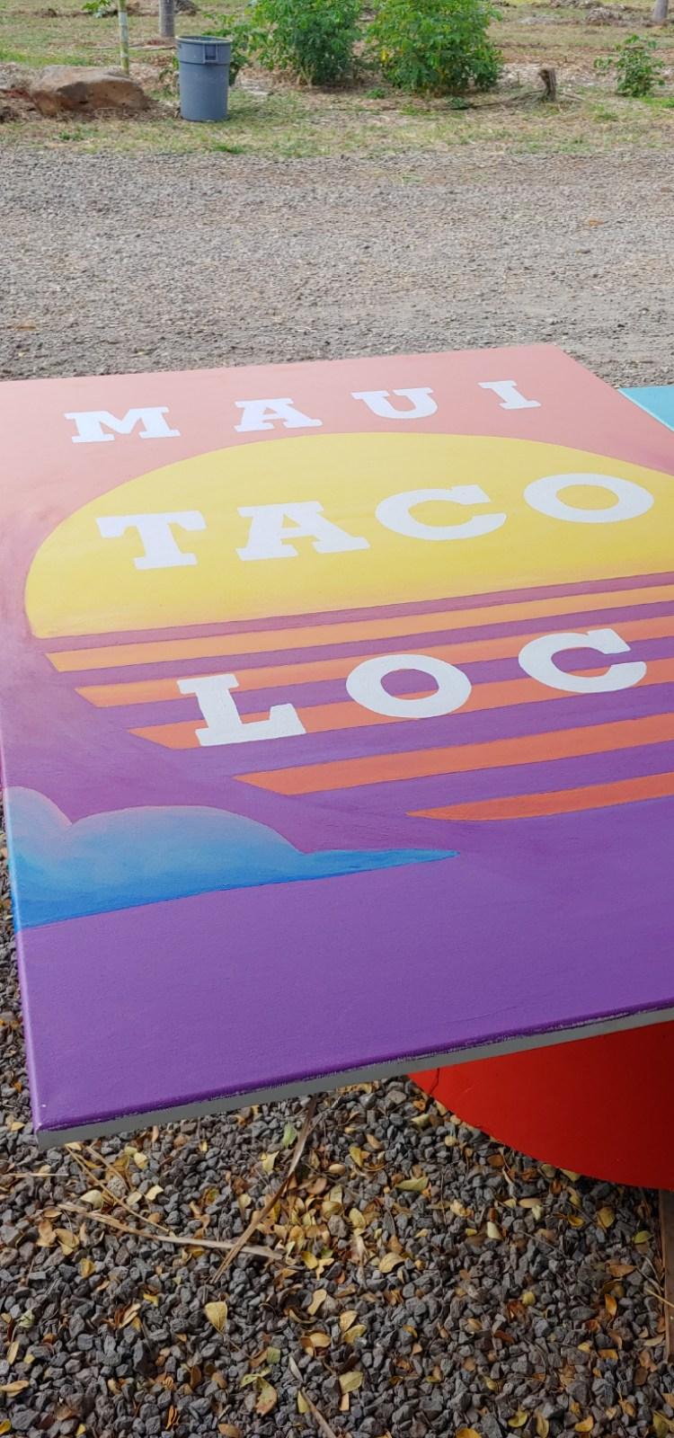 Maui taco loco handpainted sign