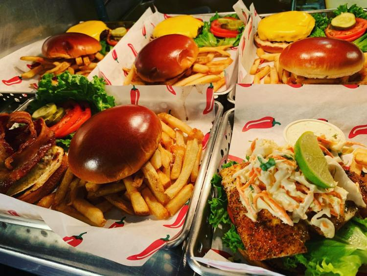 burgers and fries togo - takeout food