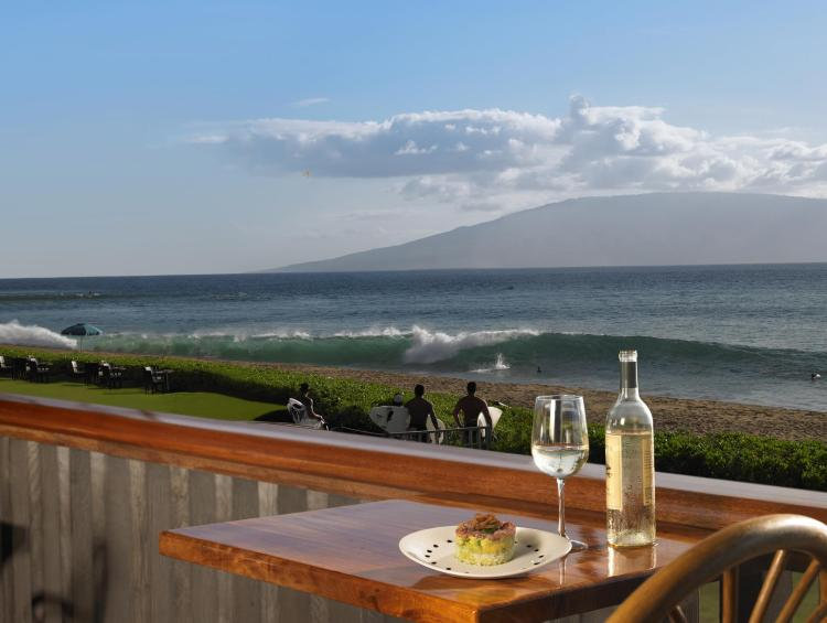 Maui happy hour with ocean view