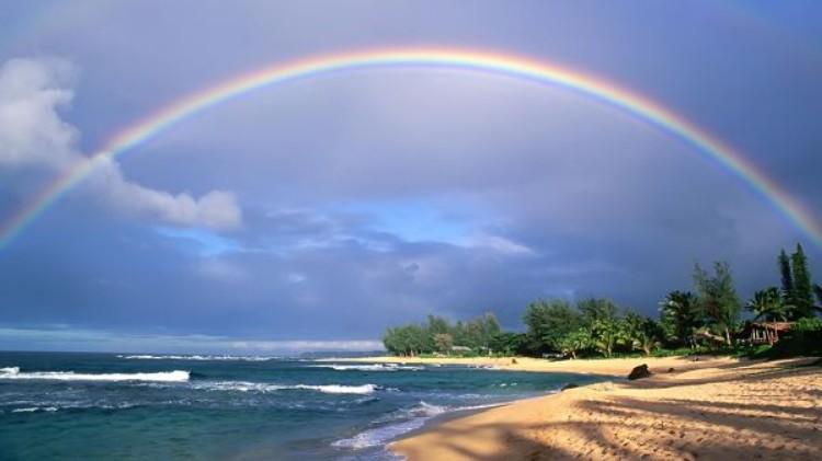 Rainbow at the beach in Maui Hawaii