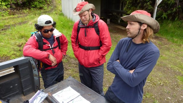 The crew prepares to start hiking in. Along the way they'll be searching for pampas.