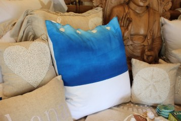 blue painted watercolor pillows