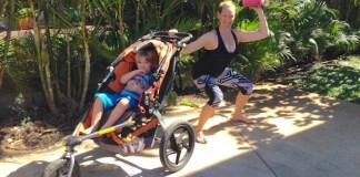 exercising stroller mother