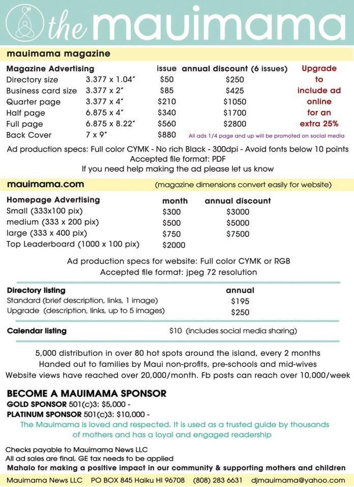 Mauimama ad rates 2017